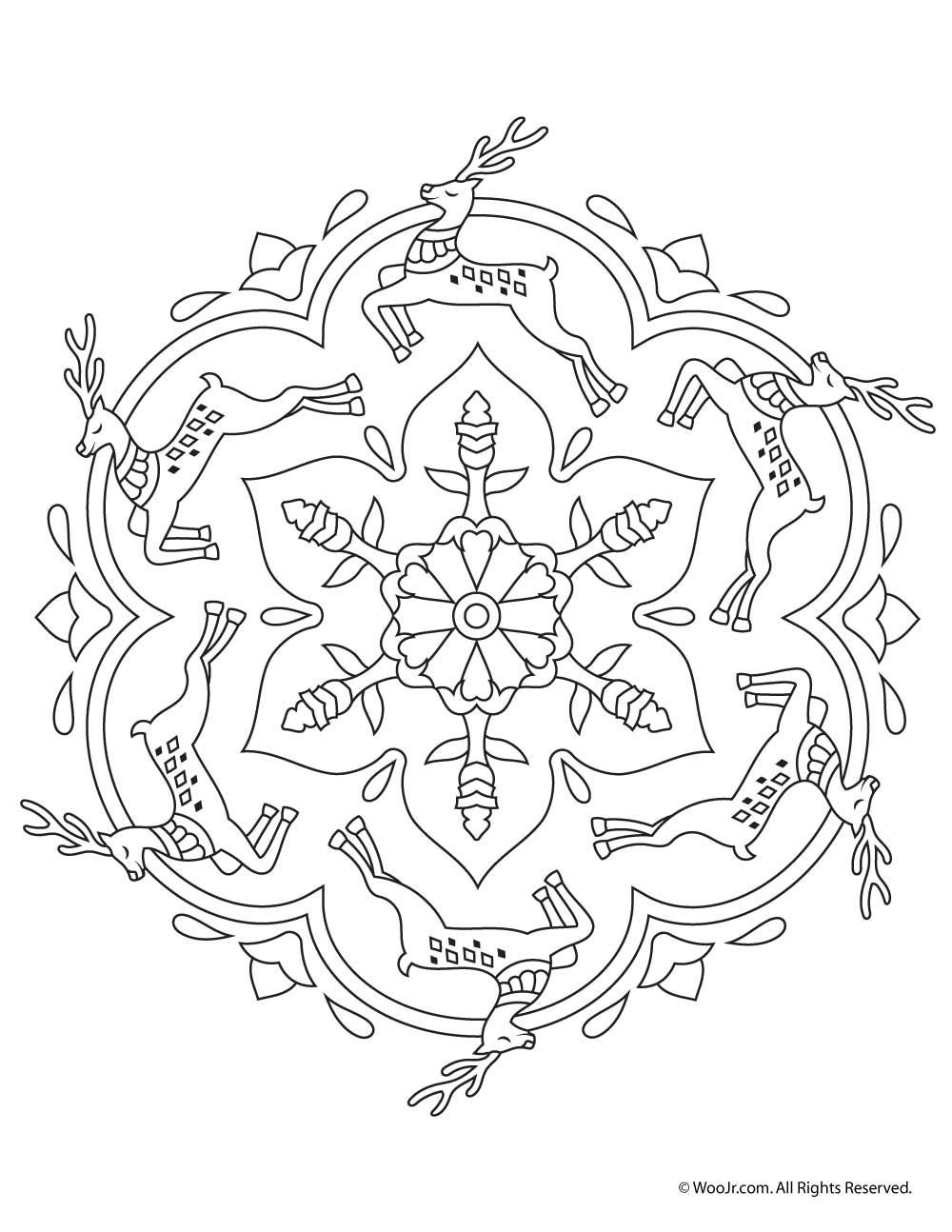 Christmas Coloring Mandala With Beautiful Printable Adult Pages
