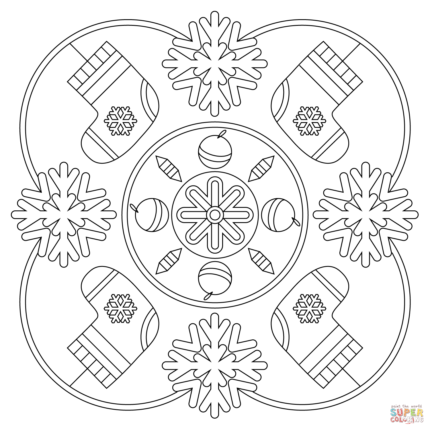 Christmas Coloring Mandala With Winter Page Free Printable Pages