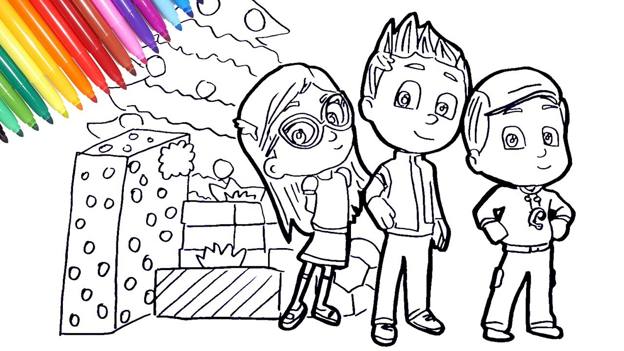 Christmas Coloring Masks With PJ Amaya Conor Greg Pages How To Draw Pj