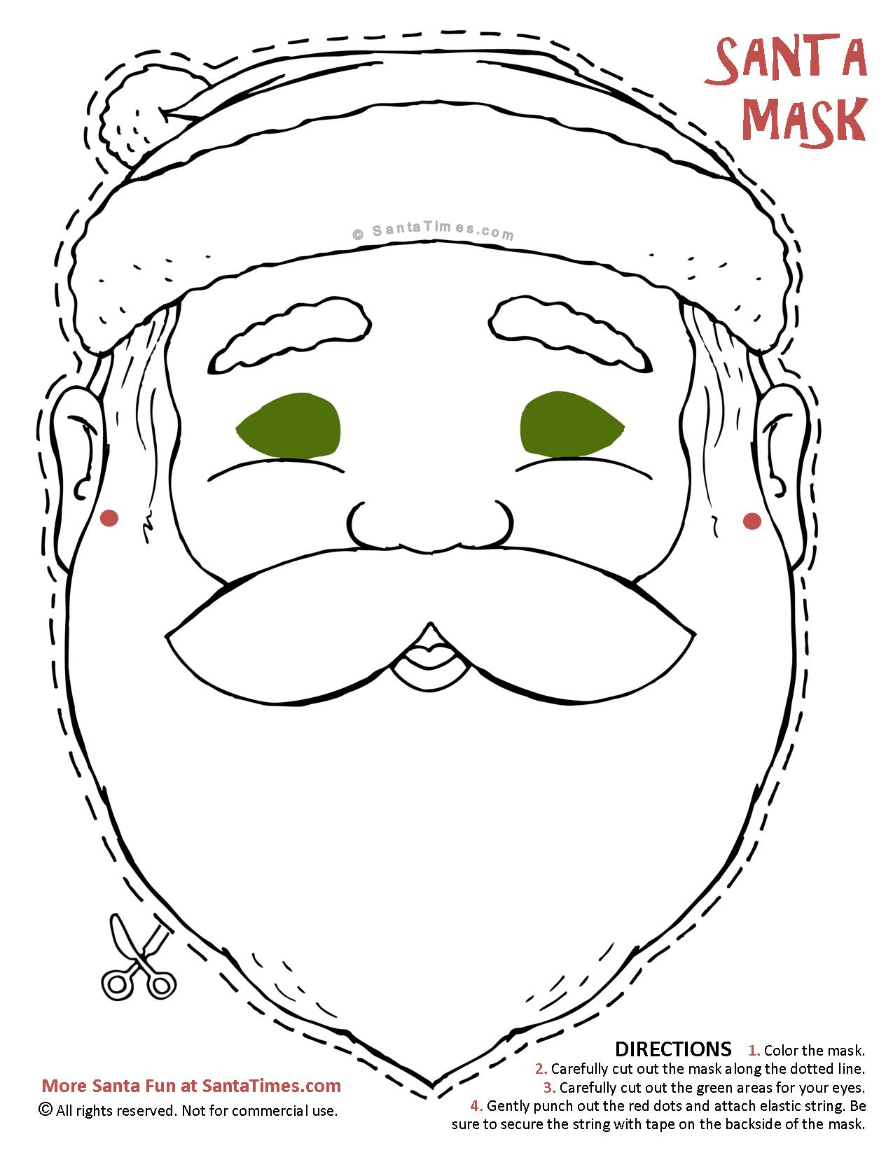 Christmas Coloring Masks With Santa Mask To Cut Out And Color