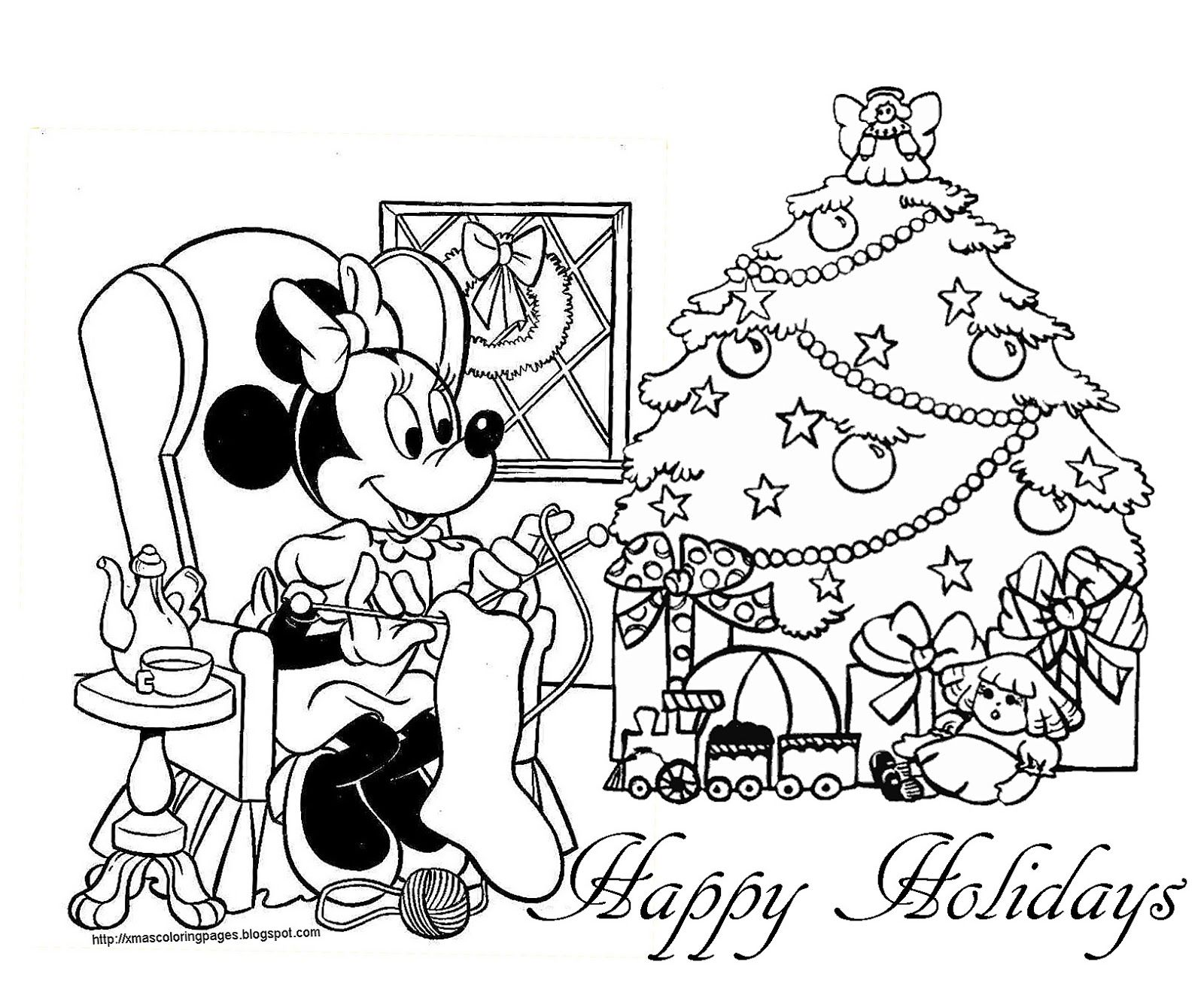 Christmas Coloring Mickey Mouse With Baby Pages Preschool In Pretty Print