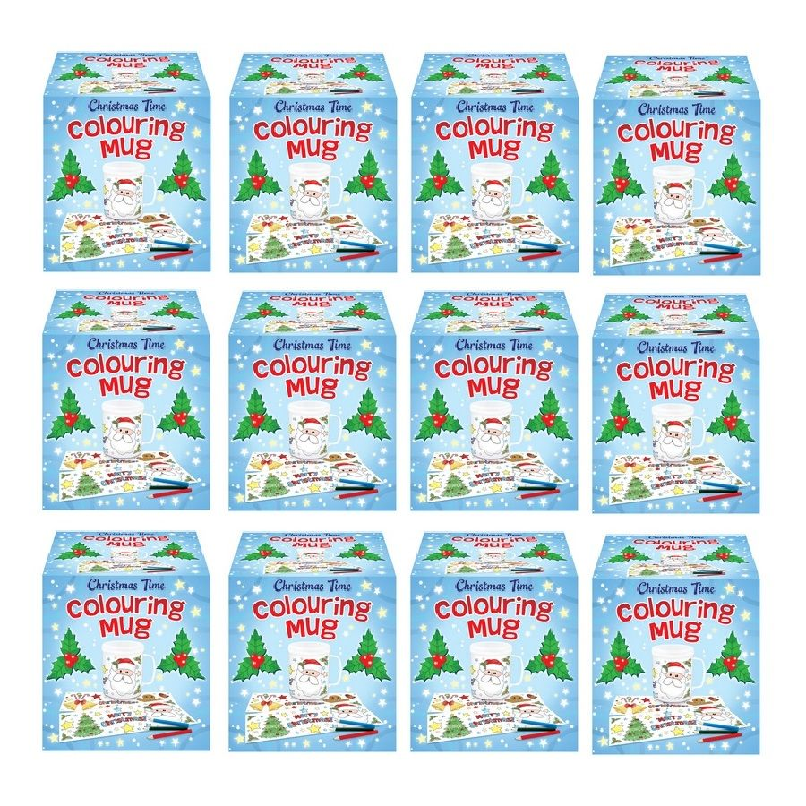 Christmas Coloring Mugs With 12 X Time Colouring Colour Your Own Arts Crafts