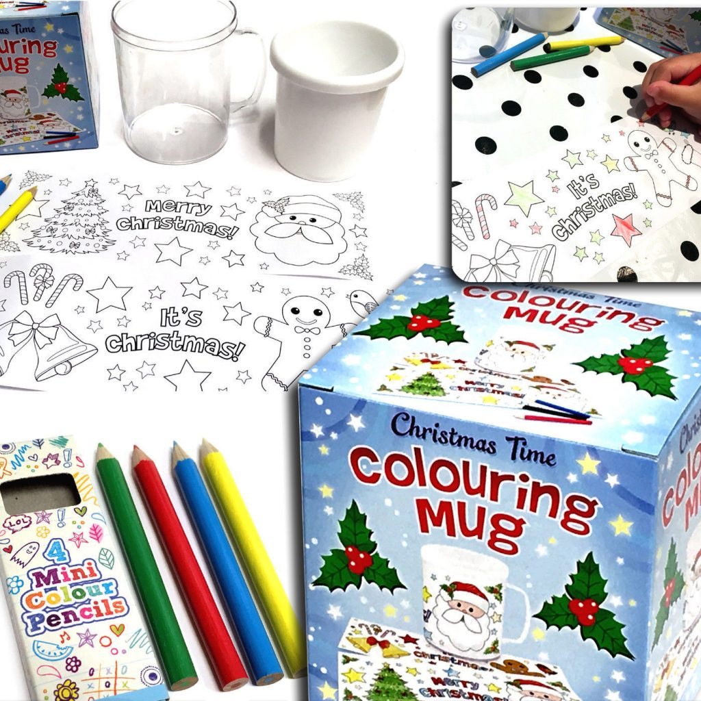 Christmas Coloring Mugs With Colour Paint Your Own Mug Cup Time Colouring In Birthday