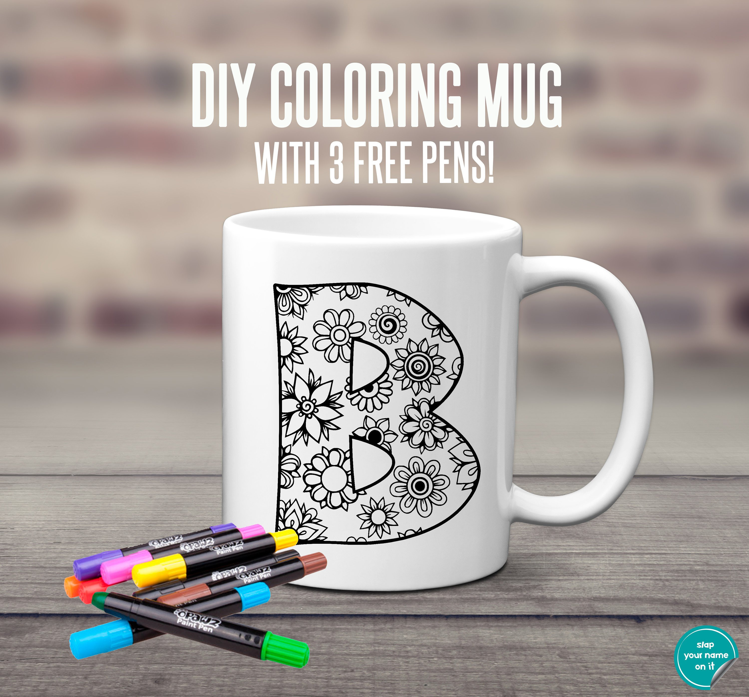 Christmas Coloring Mugs With DIY Coffee Mug Monogram Initial Cup Party Favor Etsy