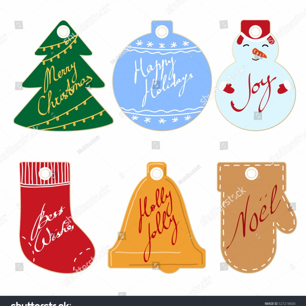 Christmas Coloring Name Tags With Collection Colored New Year Gift Stock Vector Royalty