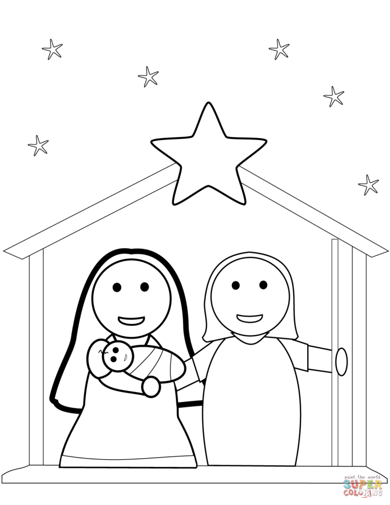 Christmas Coloring Nativity Scene With Page Free Printable Pages