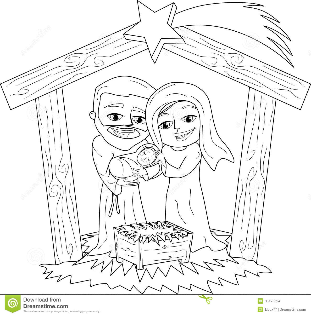 Christmas Coloring Nativity Scene With Page Stock Vector Illustration