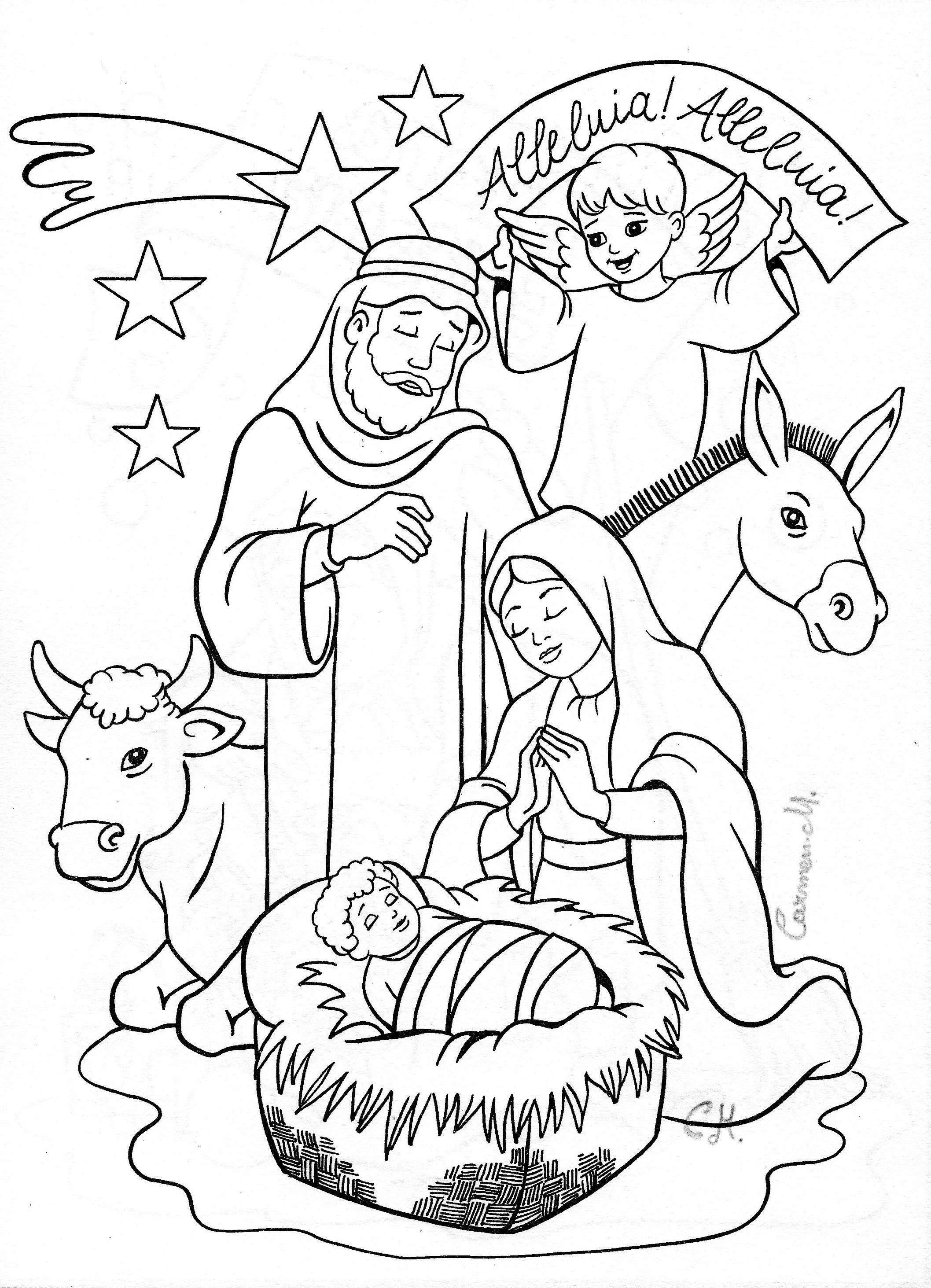 Christmas Coloring Nativity Scene With Pages Manger