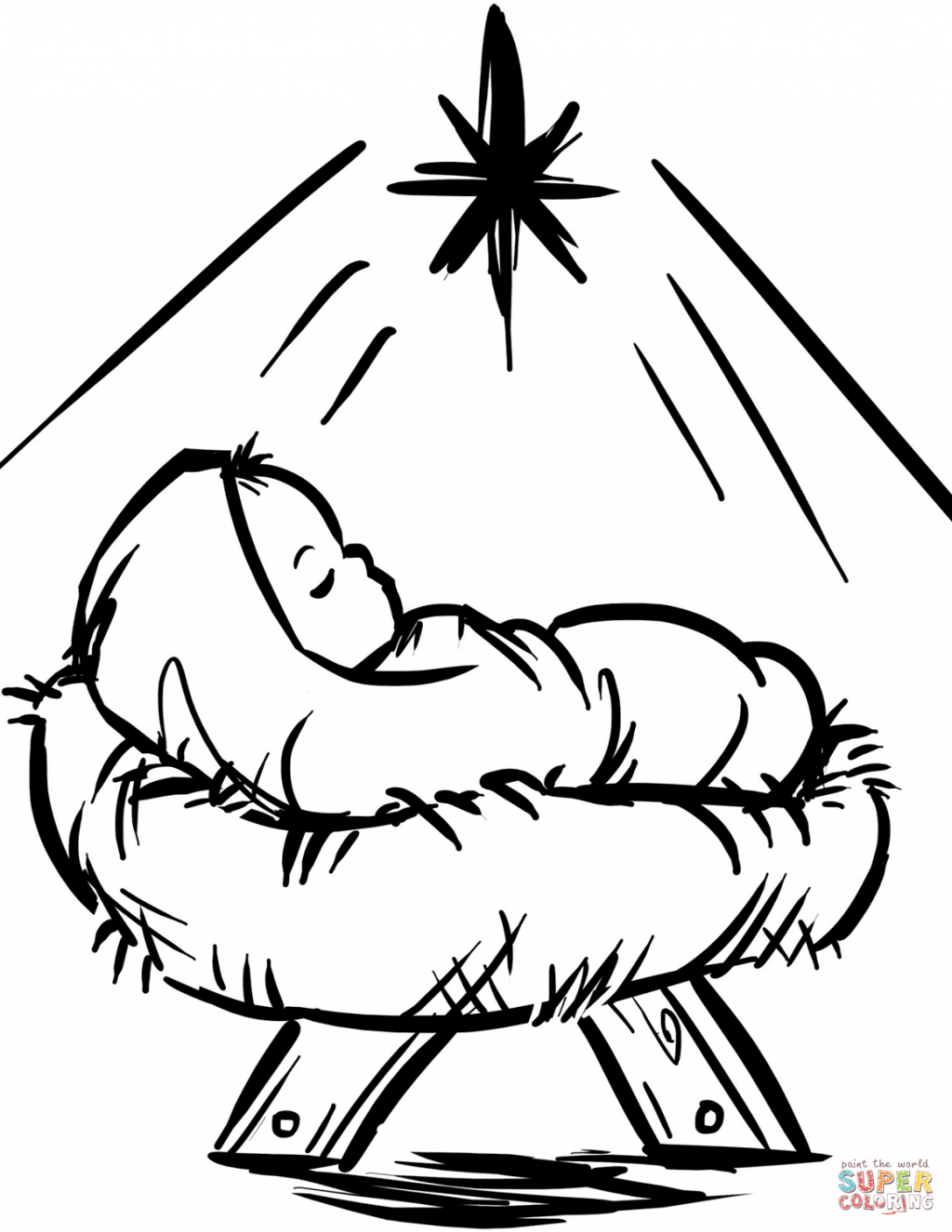 Christmas Coloring Nativity Scene With Pages Printable Free Plush Religious