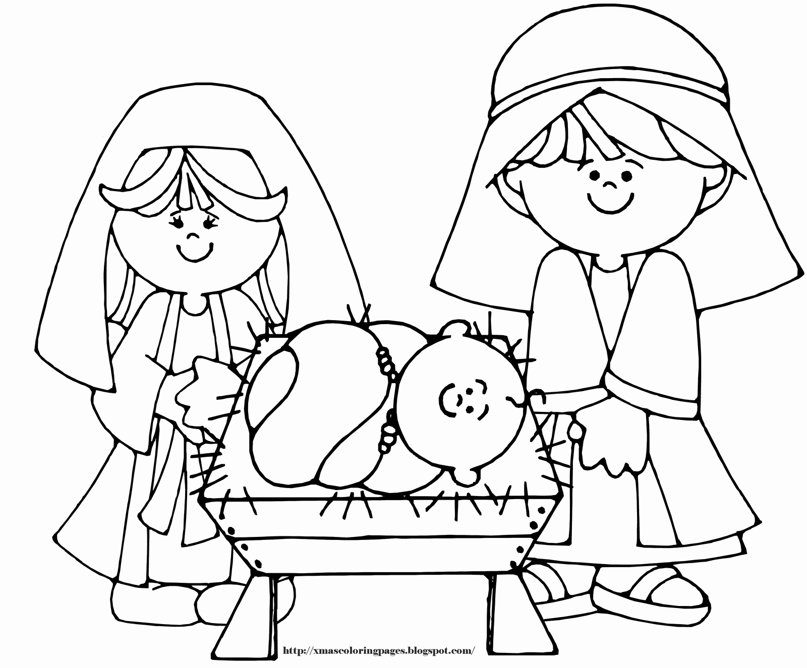 Christmas Coloring Nativity Scene With Printable Pages Preschool