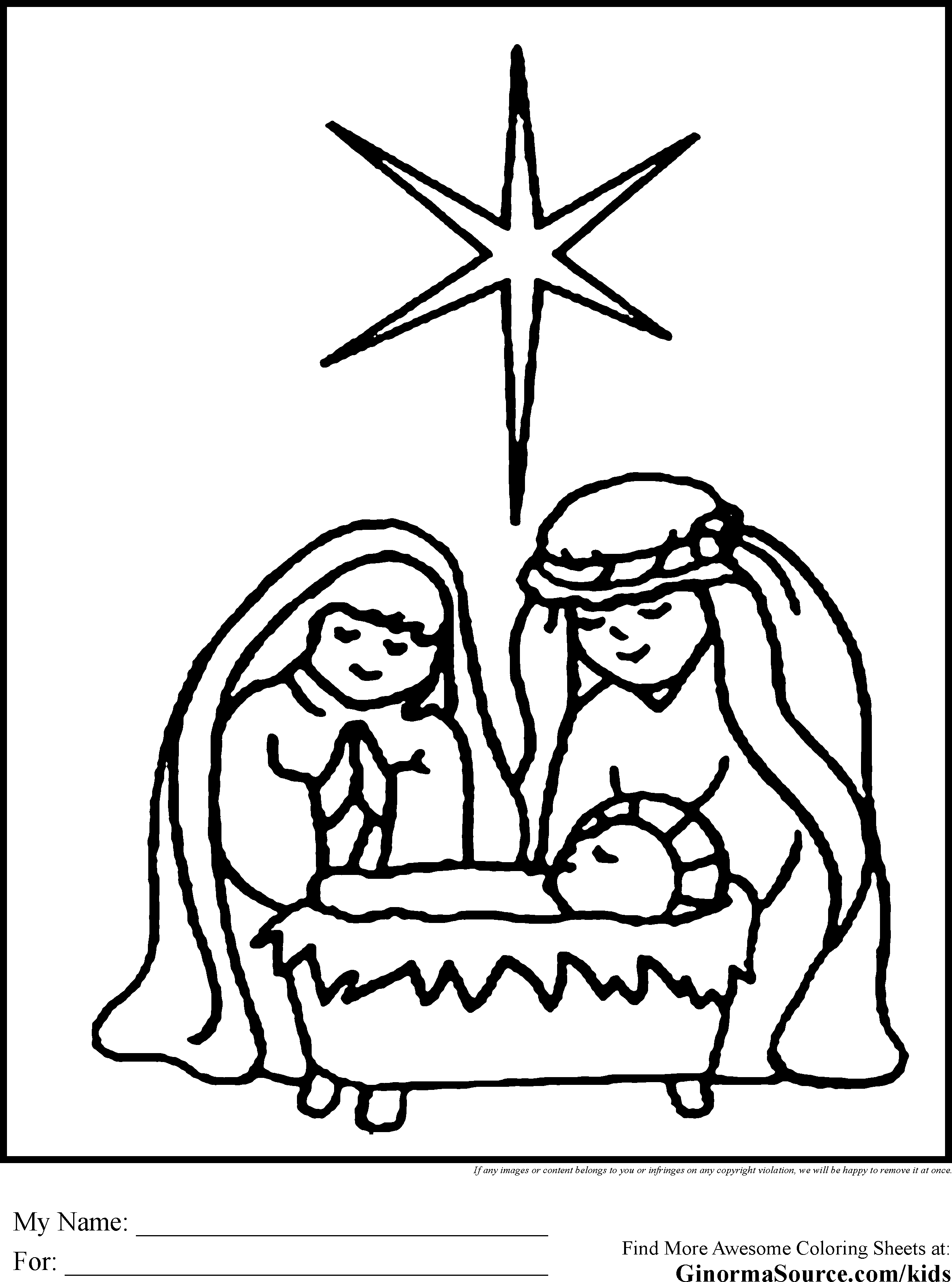 Christmas Coloring Nativity With Fresh Pages Design Free