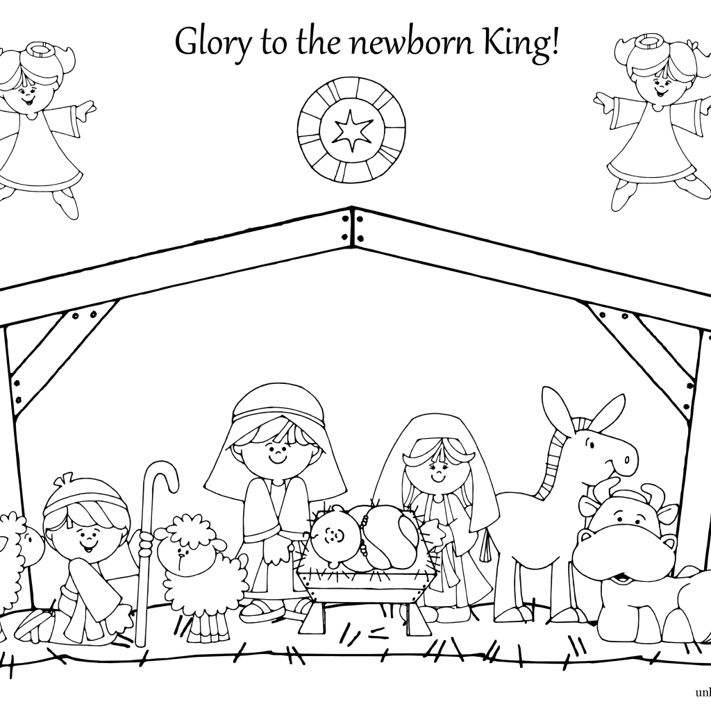 Christmas Coloring Nativity With Utw Png 3300 2550 Church Pinterest Sunday
