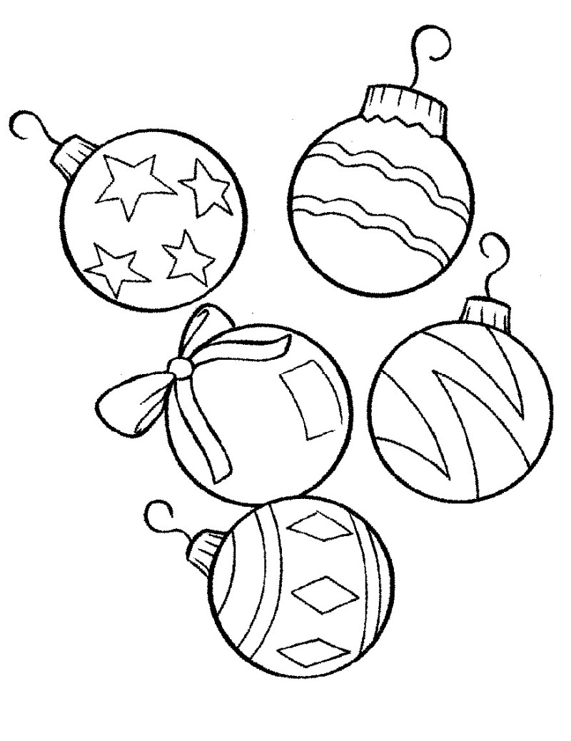 Christmas Coloring Ornaments Printable With Awesome Pages Collection