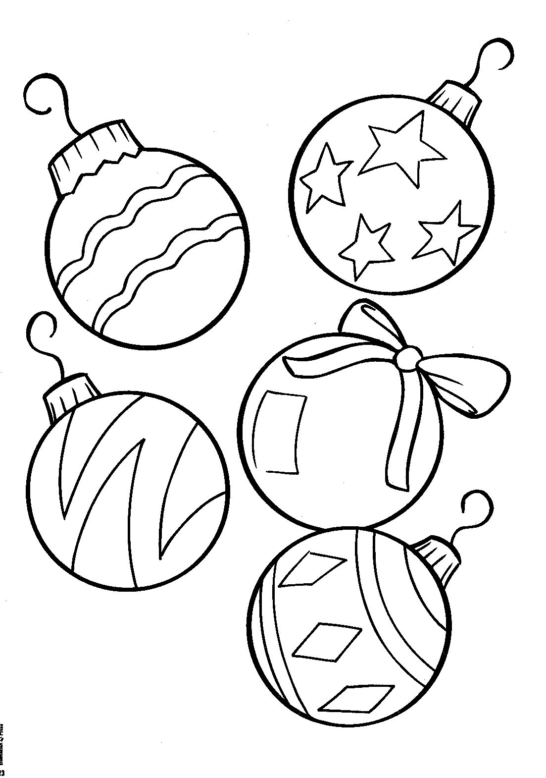 Christmas Coloring Ornaments Printable With Drawn Free Clipart On