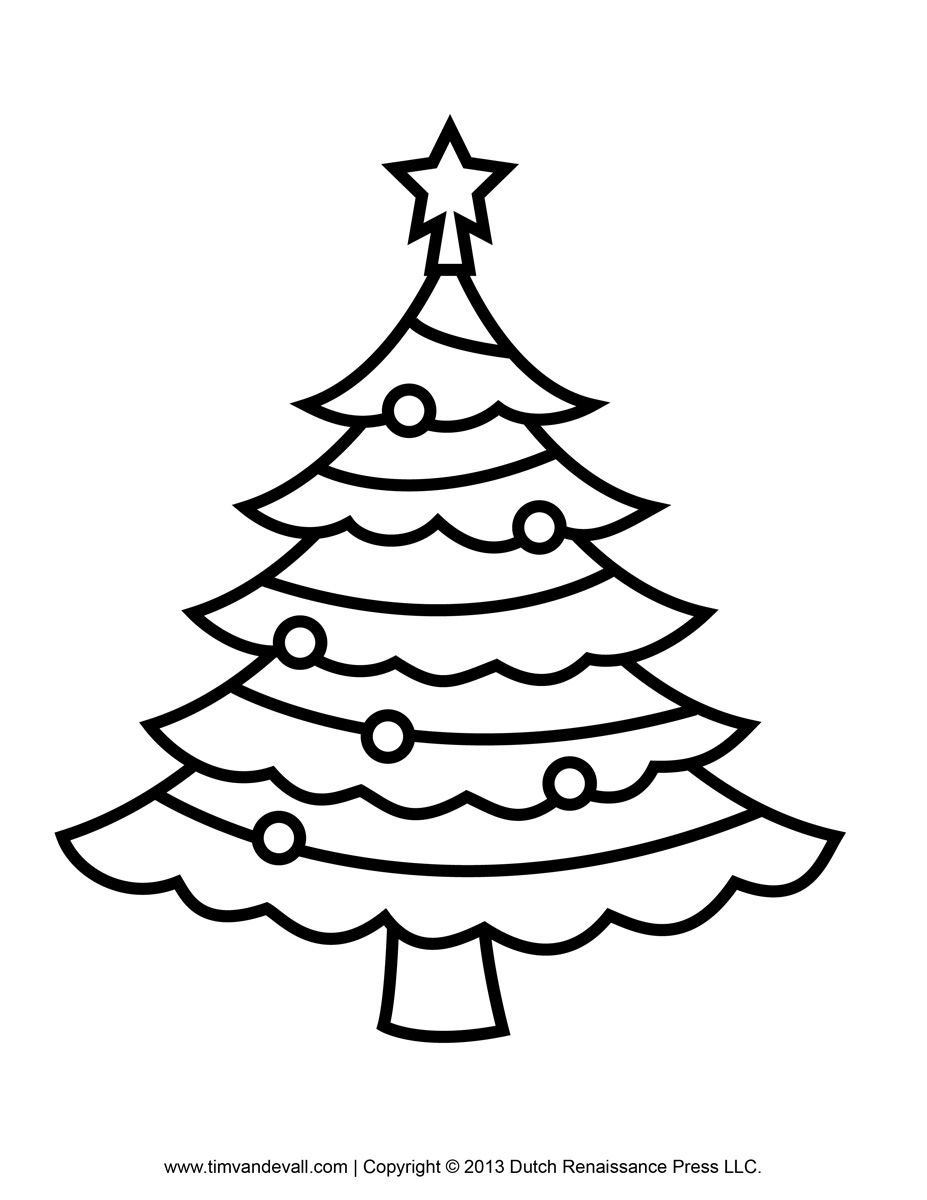 Christmas Coloring Outline With Best Photos Of Tree Drawing