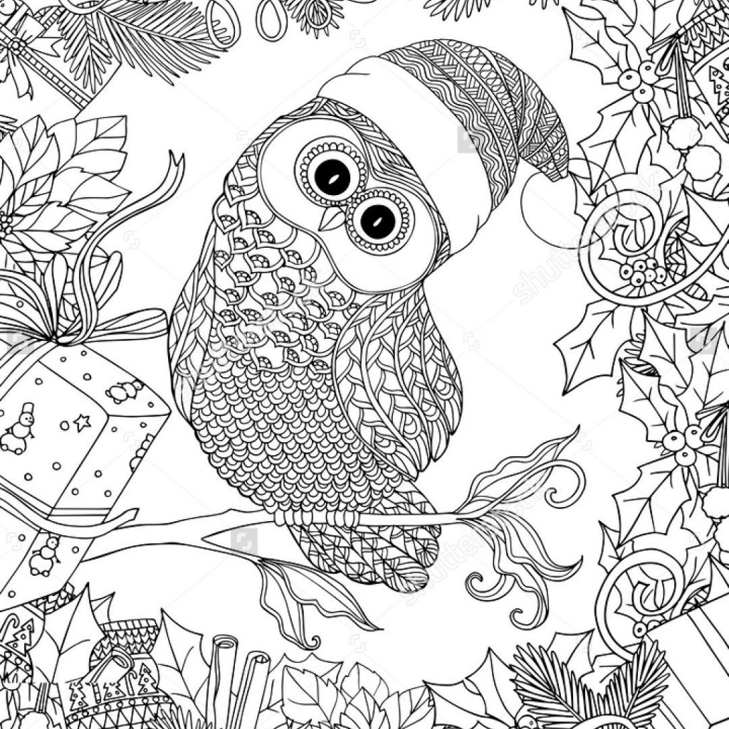 Christmas Coloring Outline With Book For Adult And Older Children Page Cute