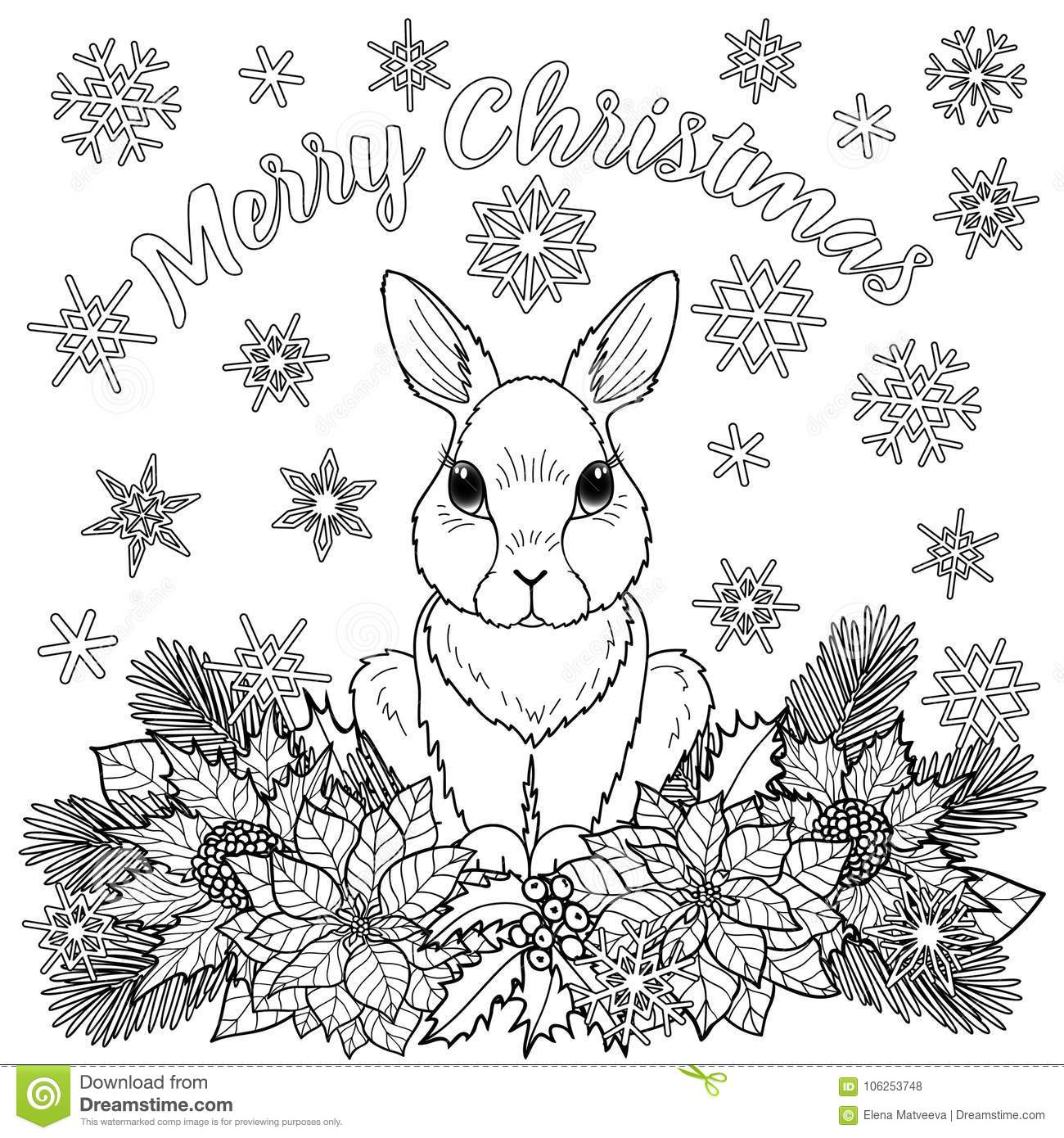 Christmas Coloring Outline With Merry Page Rabbit Stock Vector