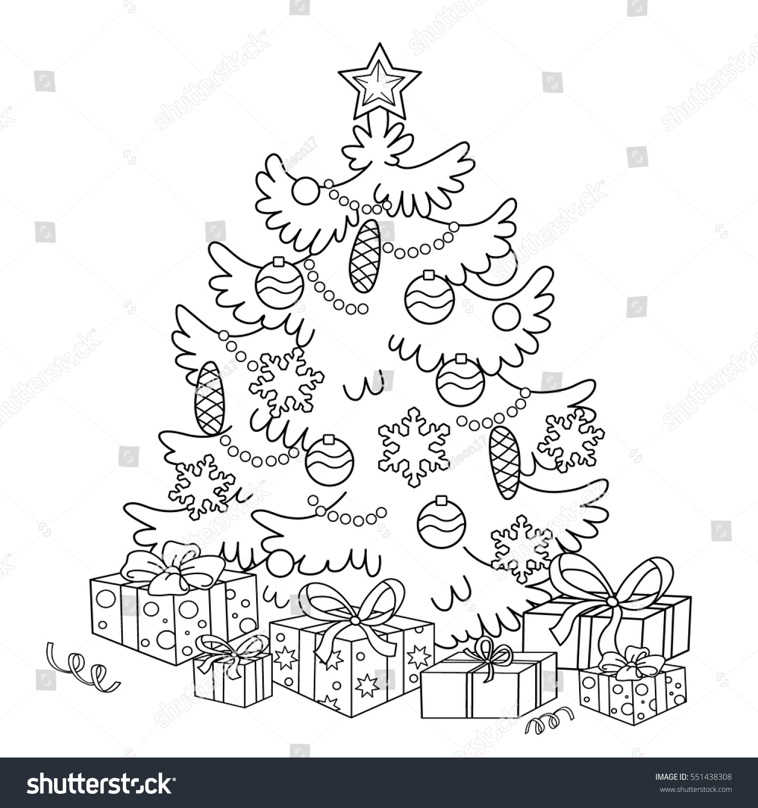 Christmas Coloring Outline With Page Cartoon Tree Stock Vector Royalty