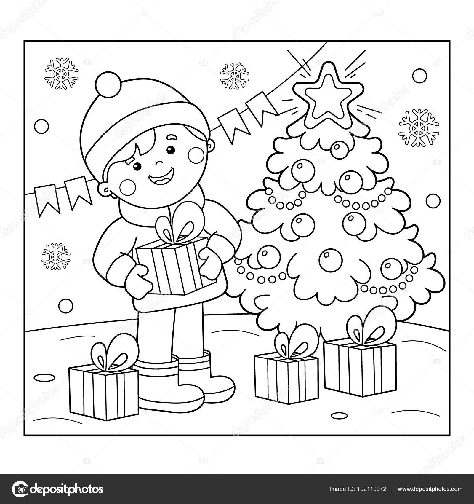 Christmas Coloring Outline With Page Of Boy Gifts At Tree