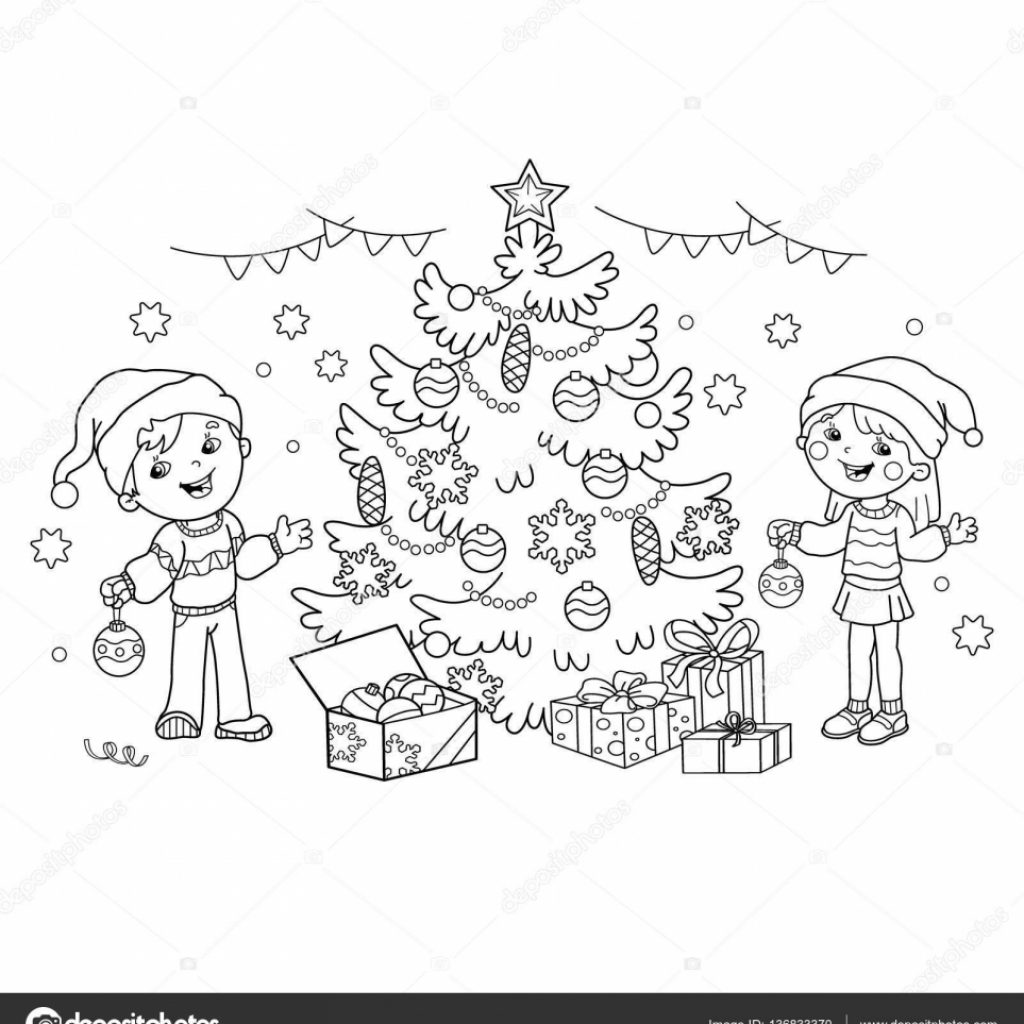 Christmas Coloring Outline With Page Of Children Decorate The Tree