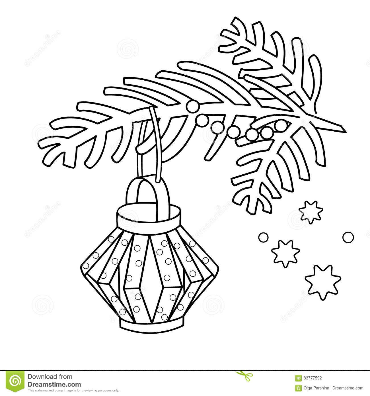 Christmas Coloring Outline With Page Of Decoration Paper Flashlight