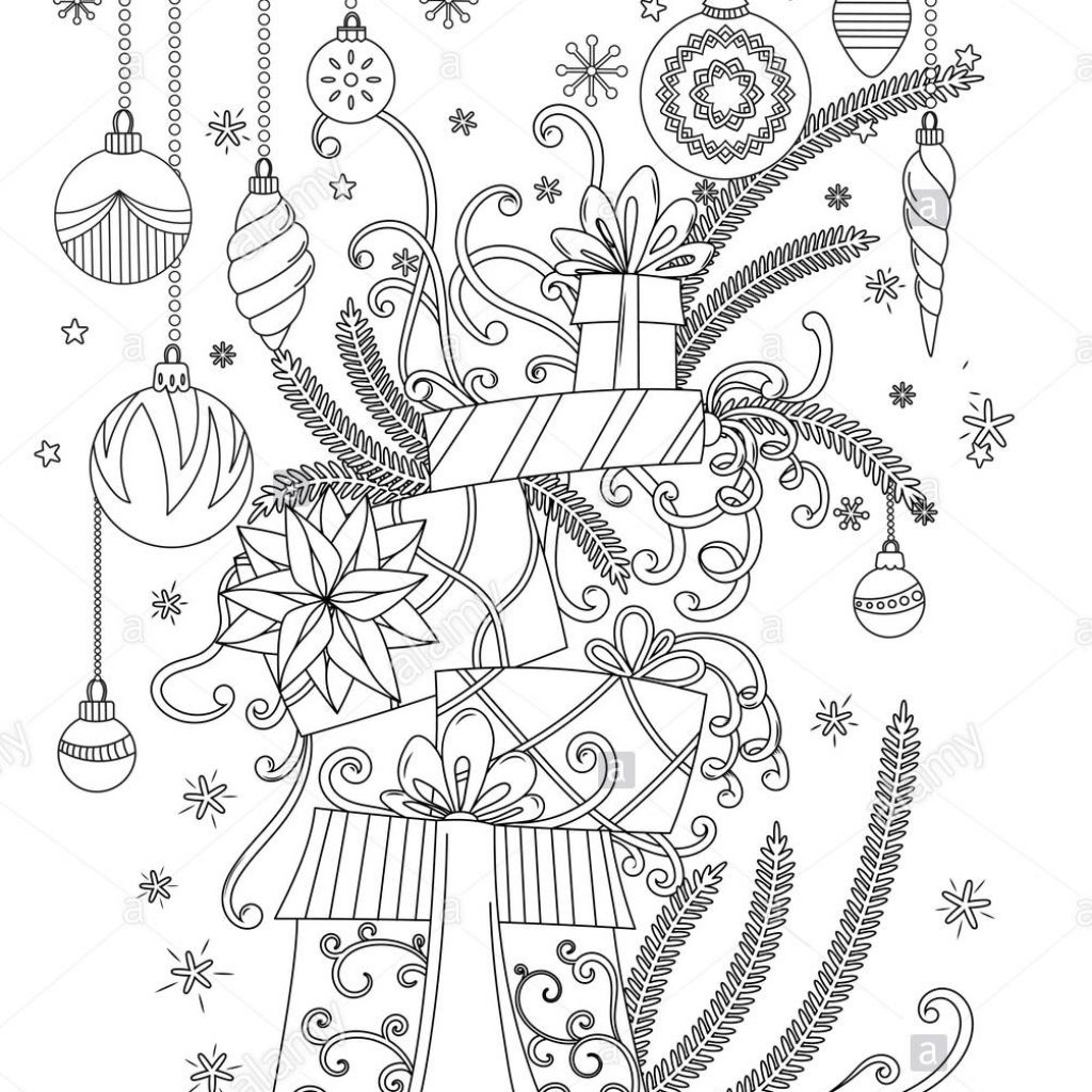 Christmas Coloring Outline With Pages Book For Adults Pile Of Holiday