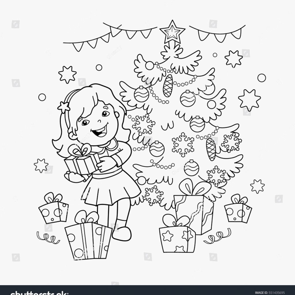 Christmas Coloring Outline With Presents Pages Page Cartoon Girl