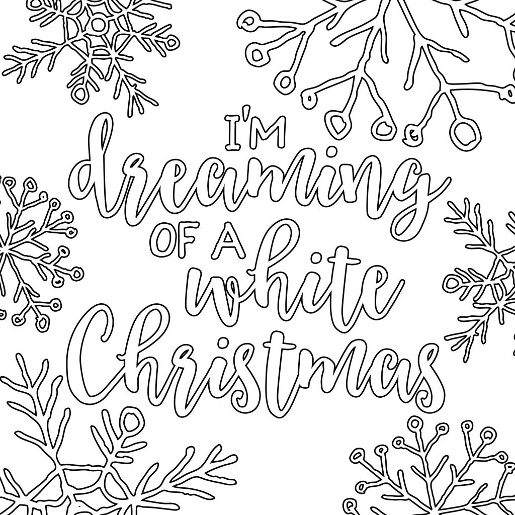 Christmas Coloring Page With Free Printable White Adult Pages Our