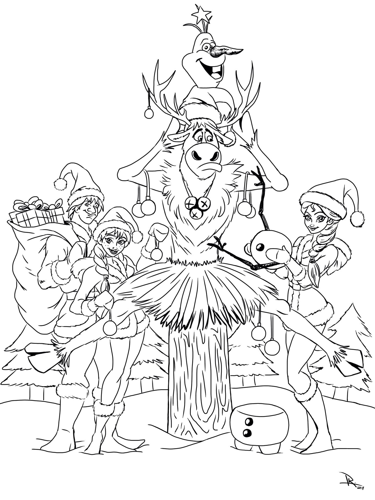 Christmas Coloring Page With Frozen Kristen Hewitt