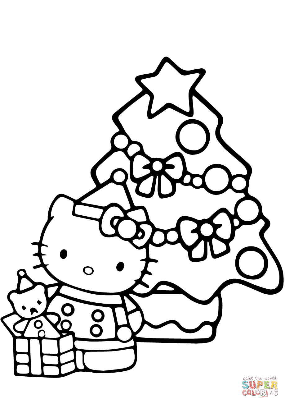 Christmas Coloring Page With Hello Kitty Free Printable Pages