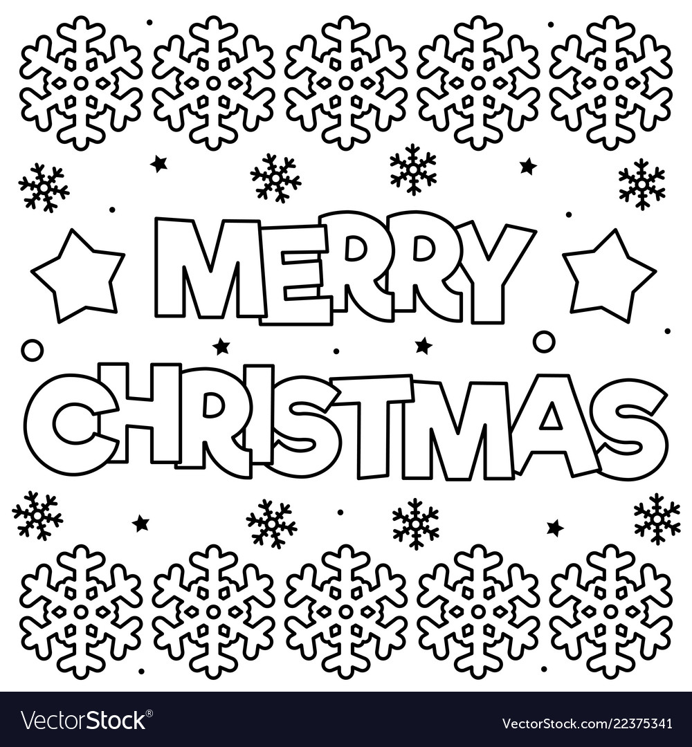 Christmas Coloring Page With Merry Black And White Vector Image
