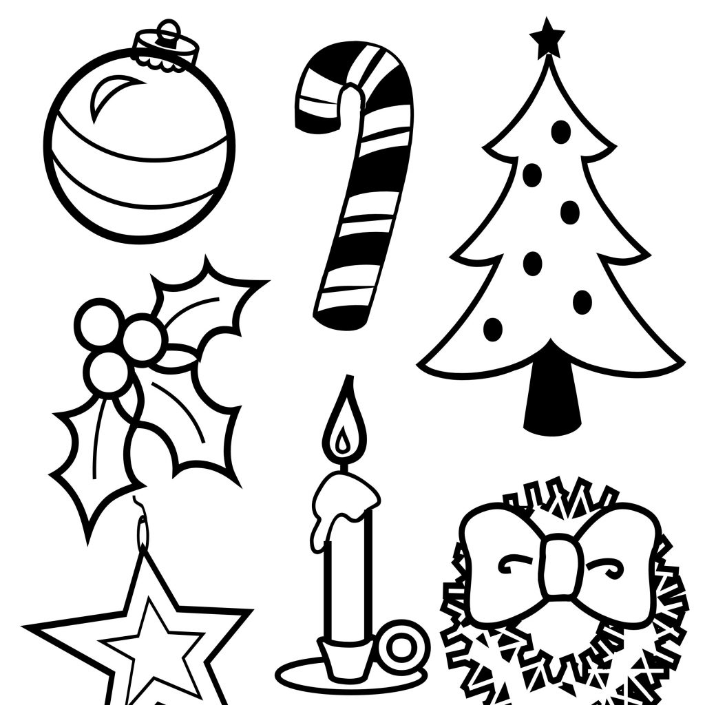 Christmas Coloring Page With Symbols Of