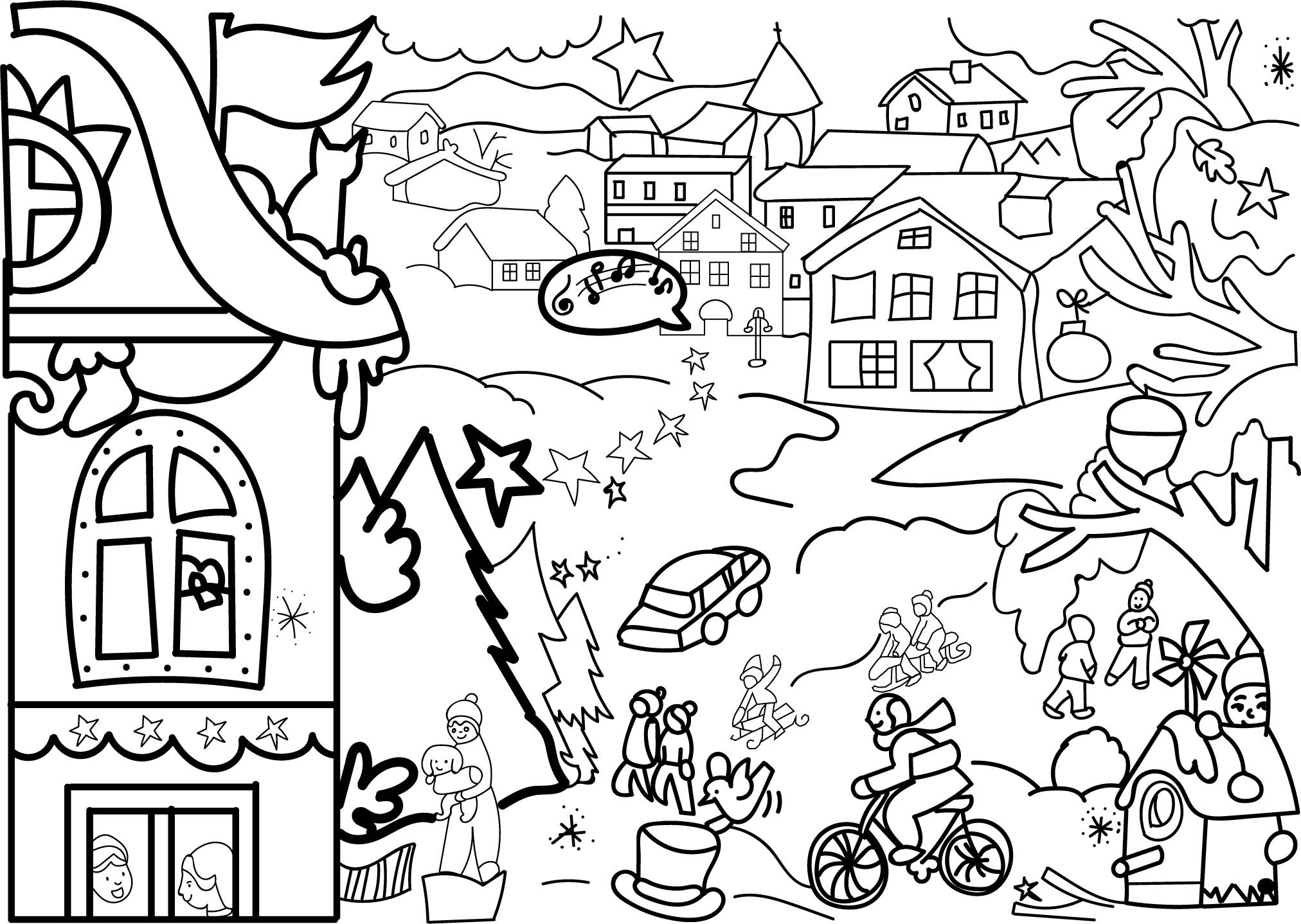 Christmas Coloring Pages Activity Village With Frabbi Me