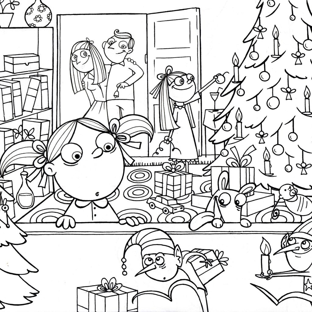 Christmas Coloring Pages Activity Village With Scene Free Library