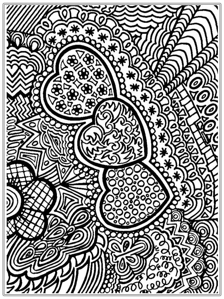 Christmas Coloring Pages Adults Free With Heart Pictures To Color For Adult Realistic