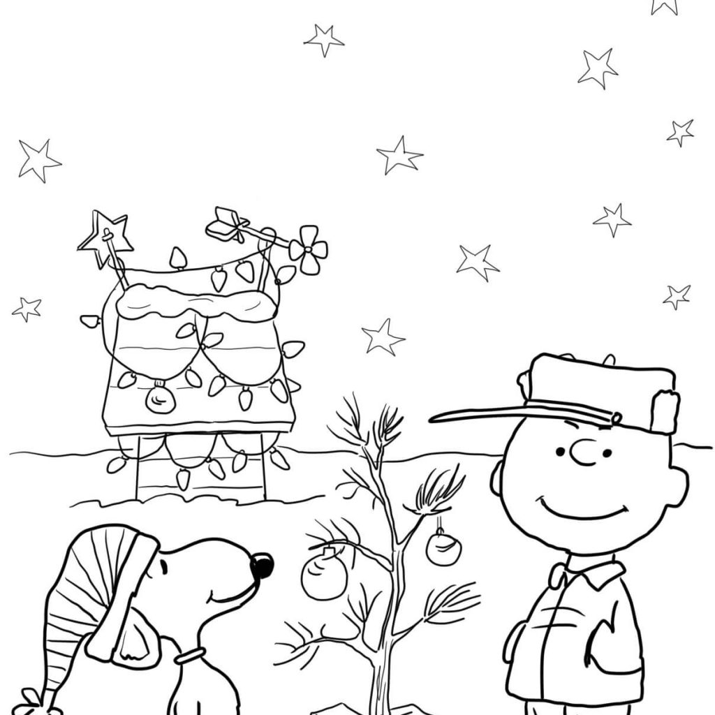 Christmas Coloring Pages Already Colored With Charlie Brown Page Free Printable