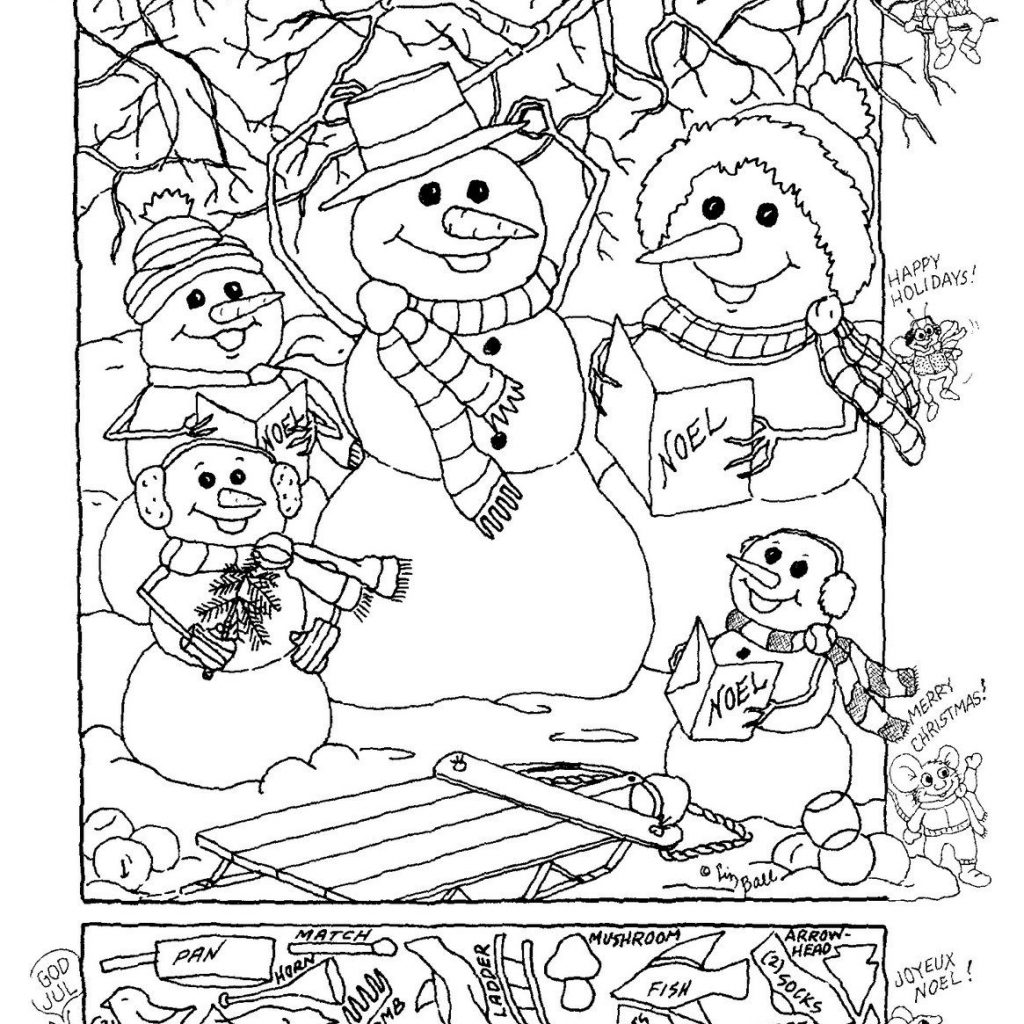 Christmas Coloring Pages And Puzzles With Hidden Picture Logic Pinterest