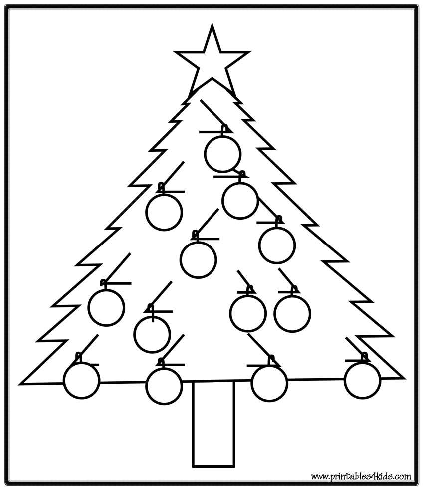 Christmas Coloring Pages And Puzzles With Simple Tree Page Printables For Kids Free