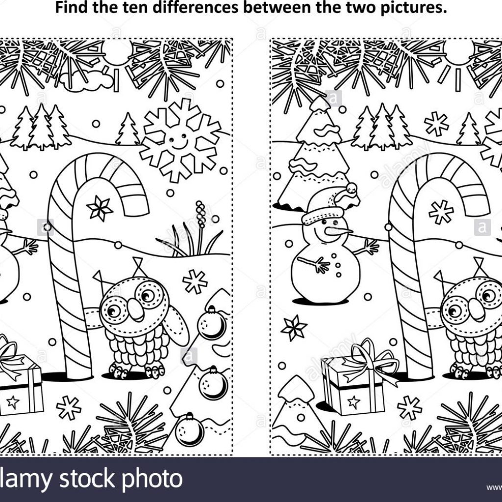 Christmas Coloring Pages And Puzzles With Winter Holidays New Year Or Themed Find The Ten
