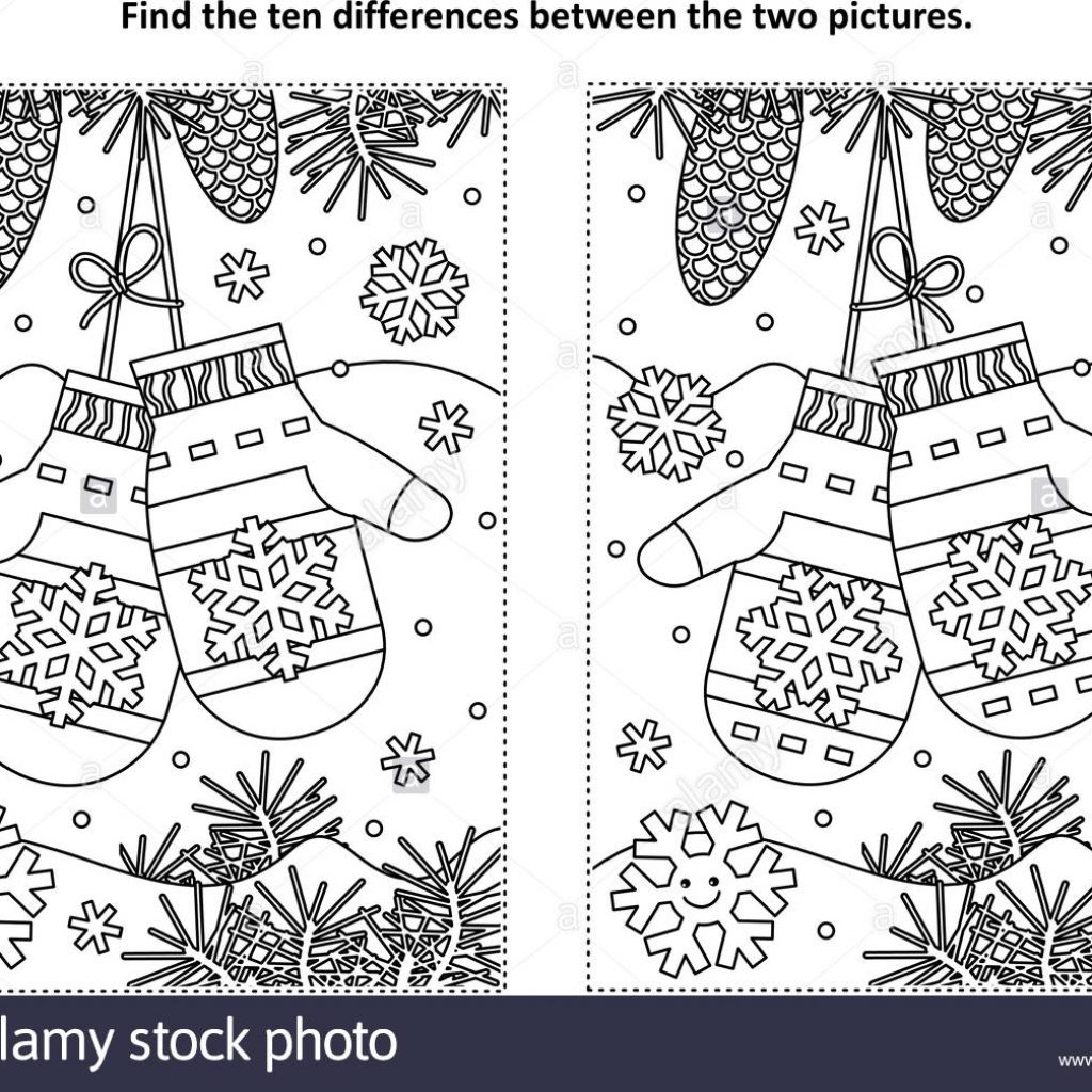 Christmas Coloring Pages And Puzzles With Winter New Year Or Themed Find The Ten Differences