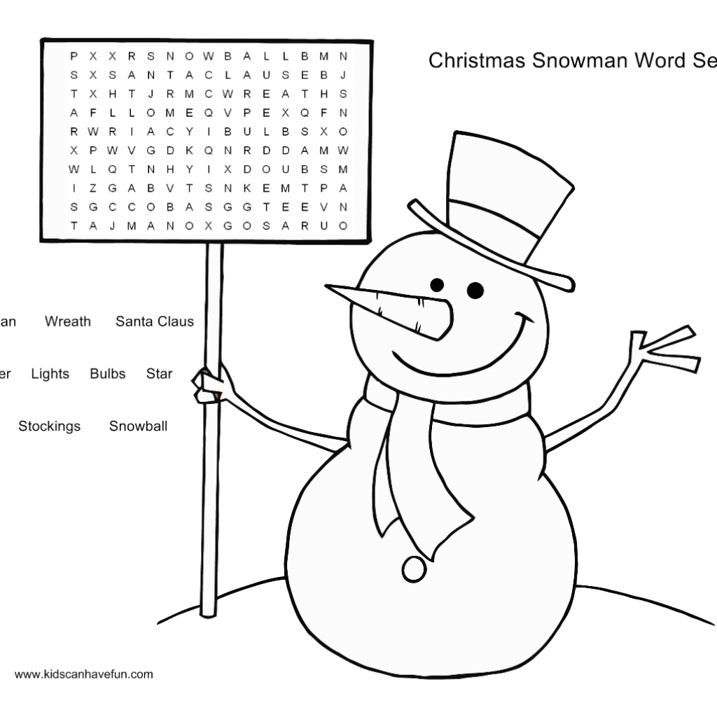 Christmas Coloring Pages And Word Searches With Snowman Search Puzzle For The Kids Http Www Kidscanhavefun