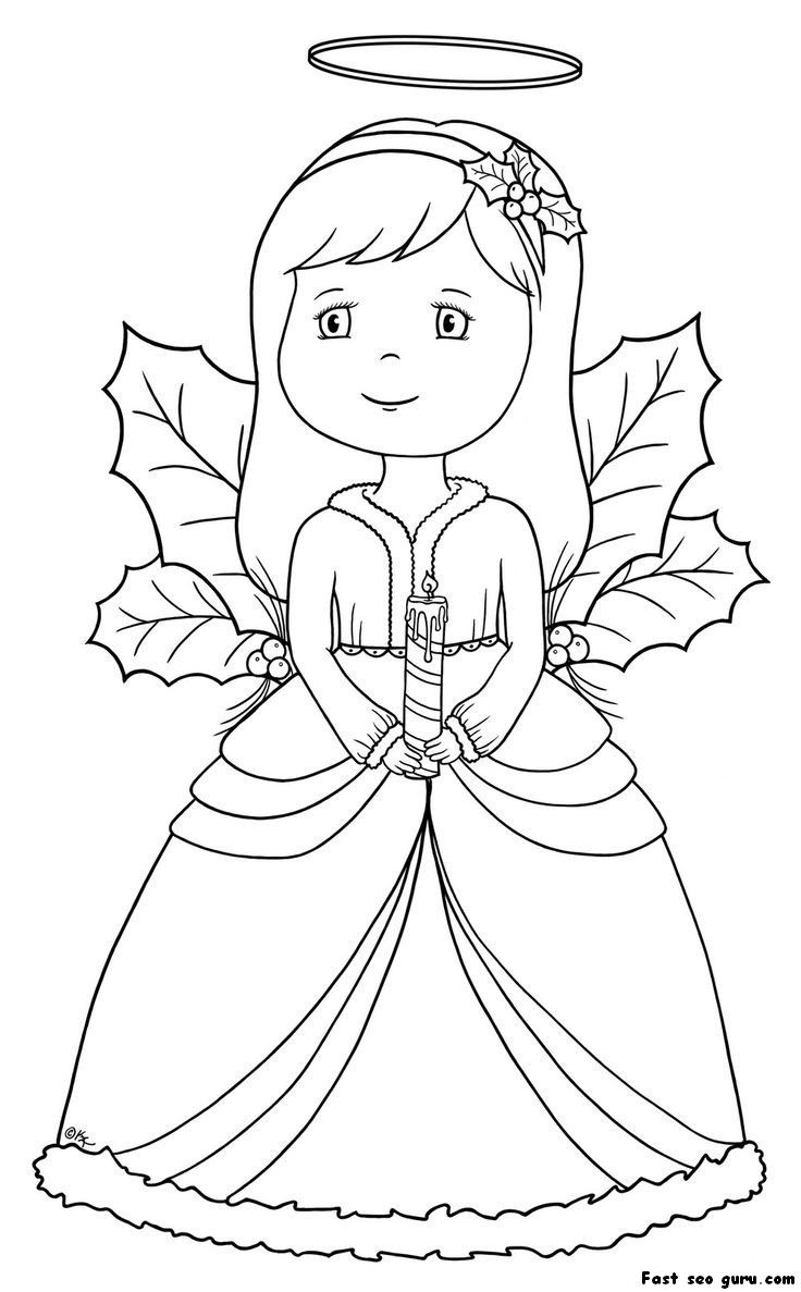 Christmas Coloring Pages Angels With Angel Homepage Printable