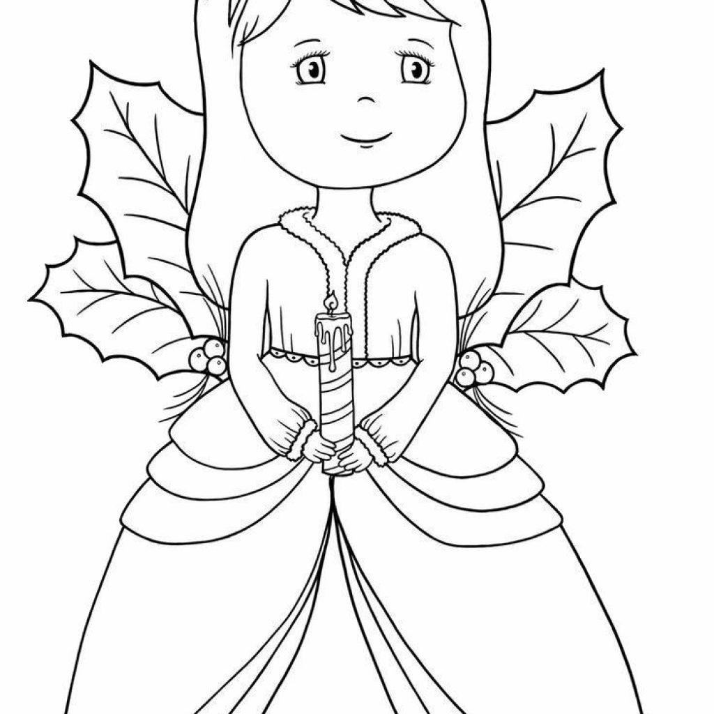Christmas Coloring Pages Angels With Beautiful Angel And Candle Pinterest