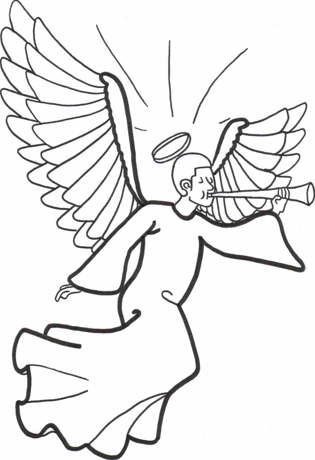 Christmas Coloring Pages Angels With Free Printable Angel For Kids