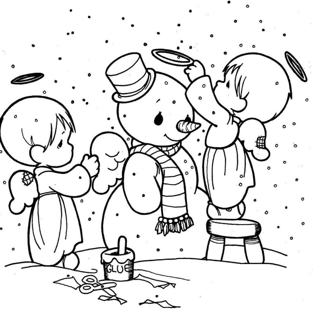 Christmas Coloring Pages Angels With Little Makes Snowman Pinterest