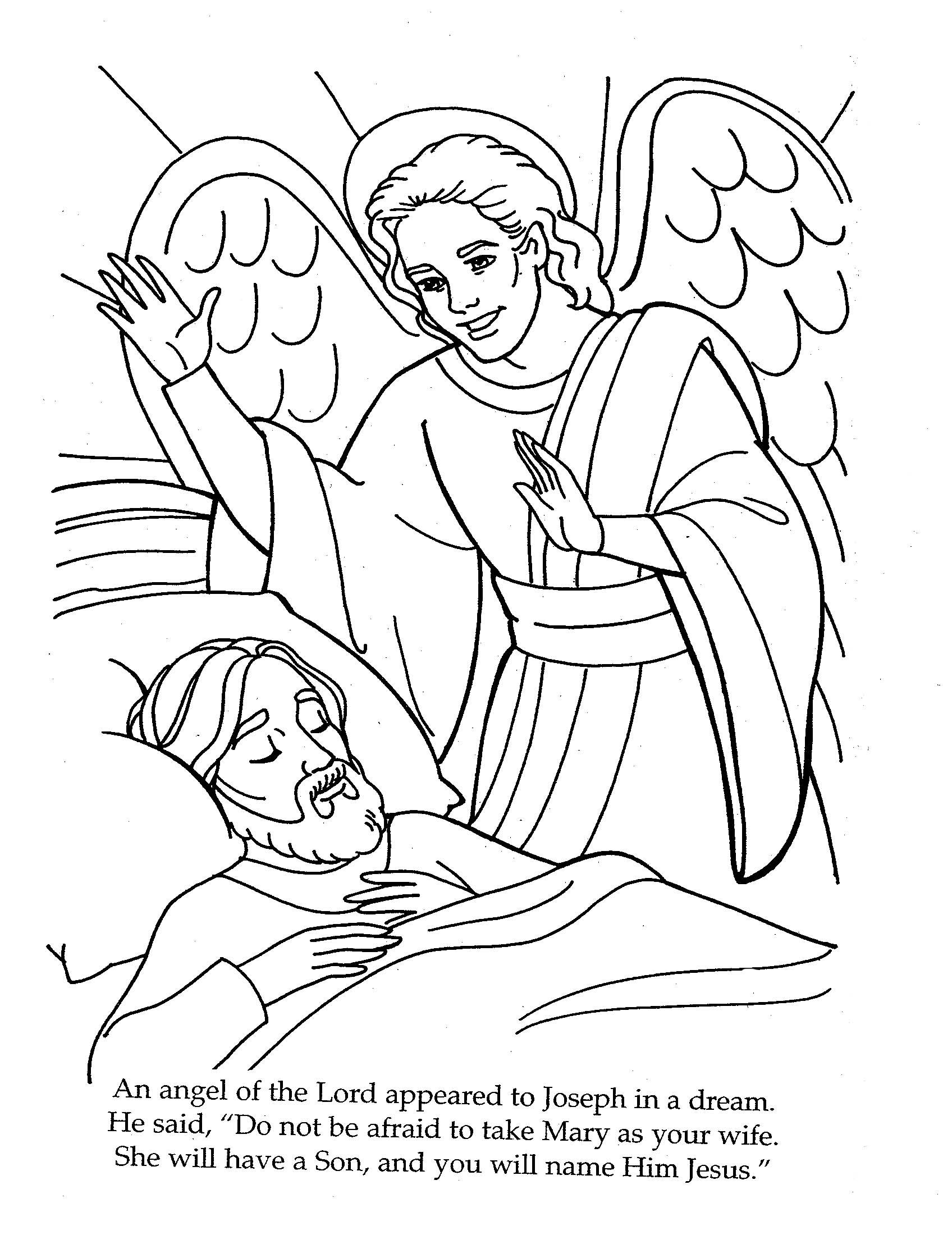 Christmas Coloring Pages Angels With The Angel Visits Joseph Page Holiday Pinte