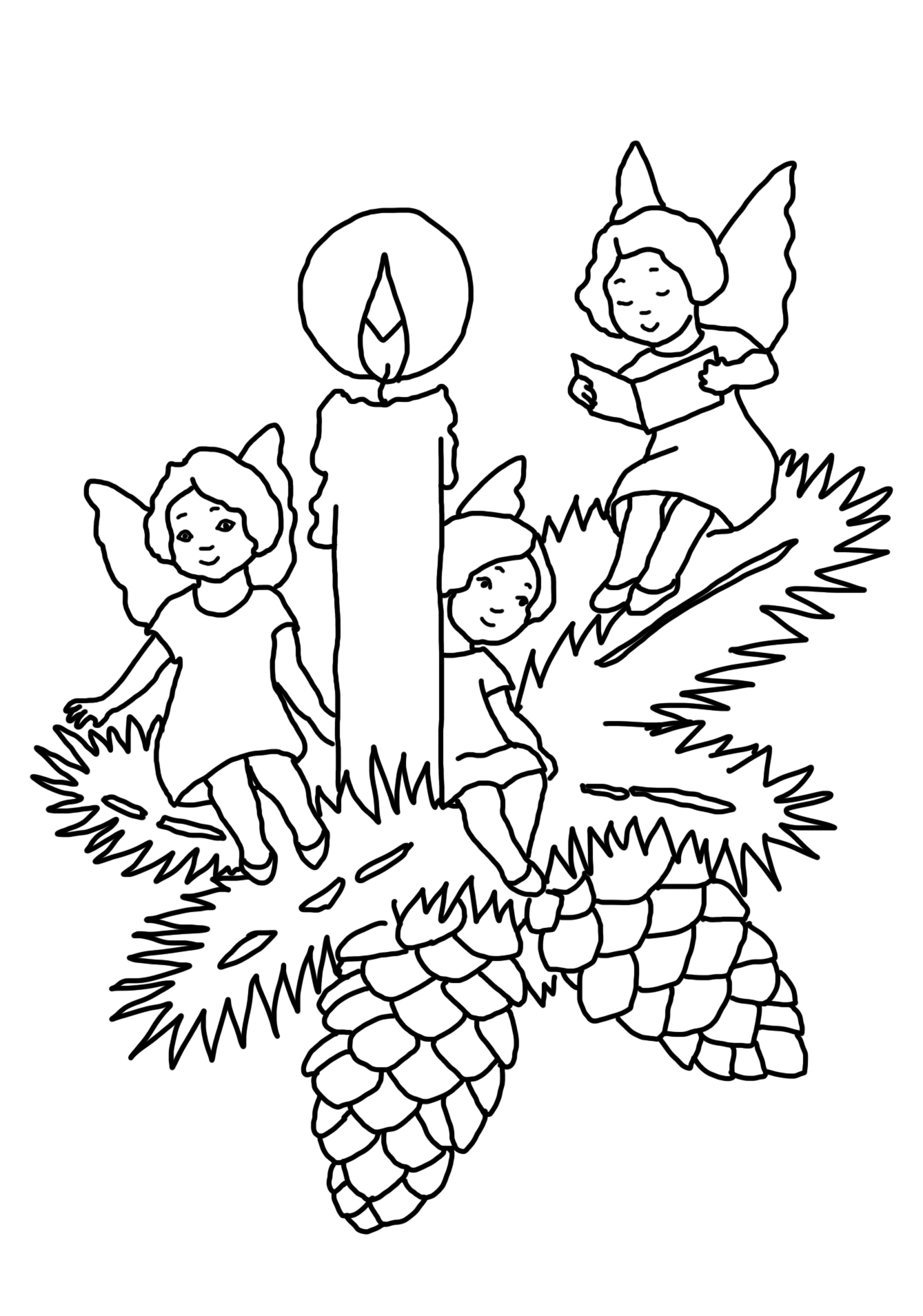 Christmas Coloring Pages Angels With