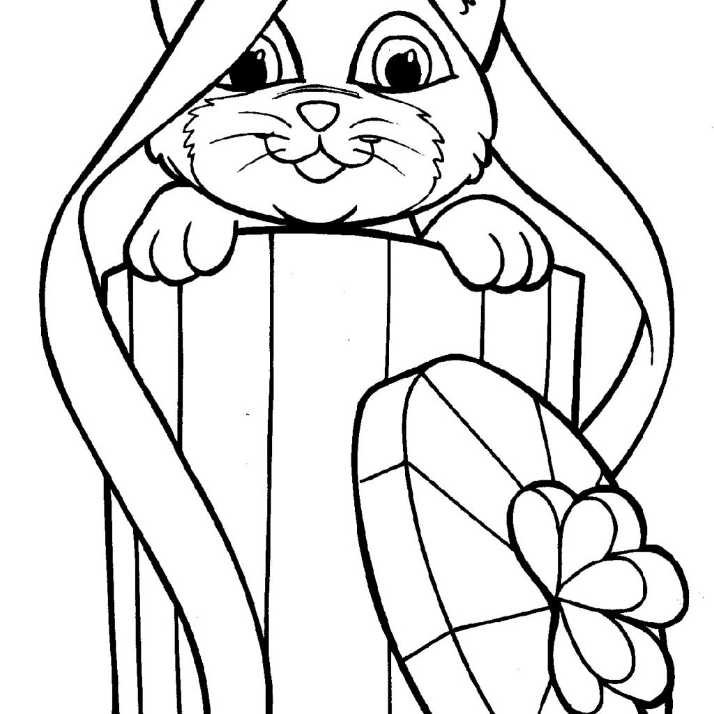 Christmas Coloring Pages Animals With New Kitty