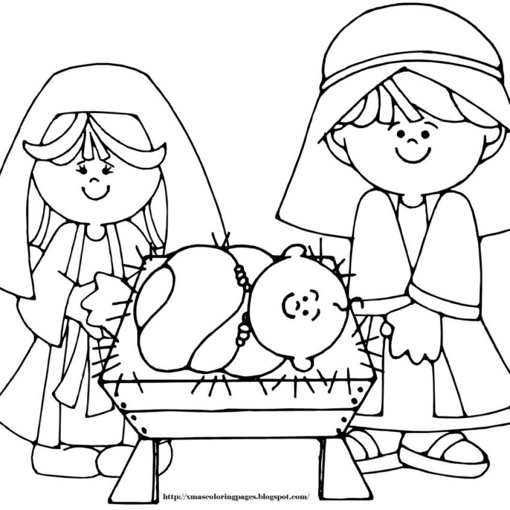 Christmas Coloring Pages Baby Jesus With Free Printable Save