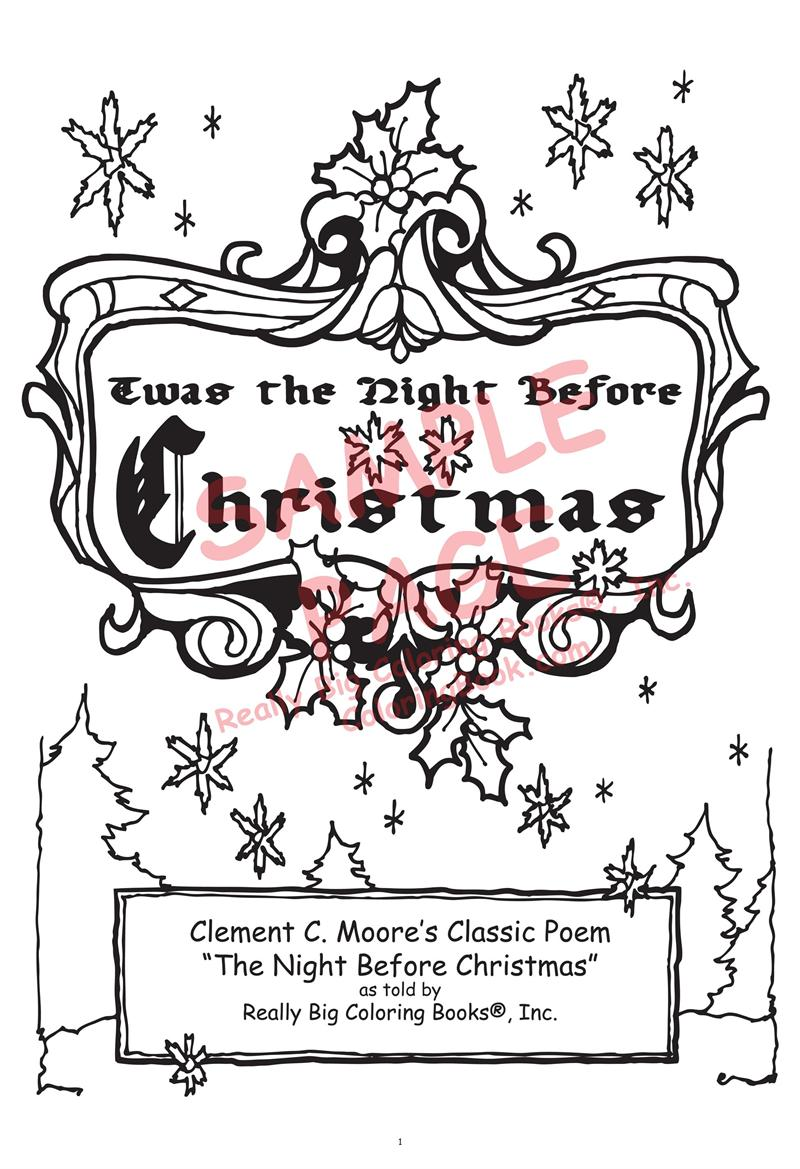 Christmas Coloring Pages Big With Books The Night Before By Clement C Moore